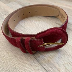 Lands' End Burgundy Suede Leather Belt